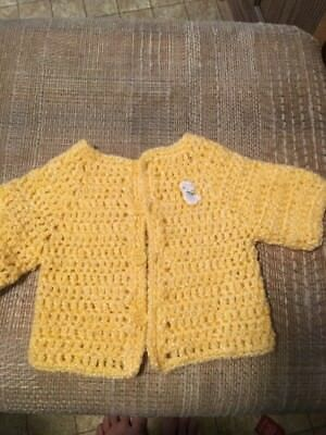 Vintage Hand Crochet Yellow Button Up  Infant Sweater Very Good Condition