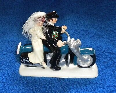 Dept 56 Snow Village Harley Ever After Wedding Motorcycle Couple Cake Topper