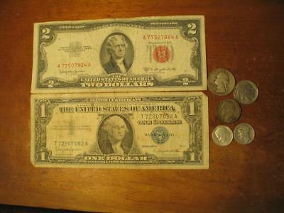 Old Coin & Currency Lot  2 Dollar Note, Silver Certificate, Silver Quarter, etc.