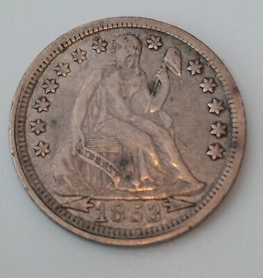 1853 with arrows Seated Liberty Dime. Nice problem free VF