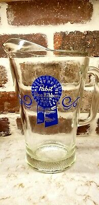 """PABST Blue Ribbon Beer Clear Glass Pitcher 9"""" tall 6"""" dia"""