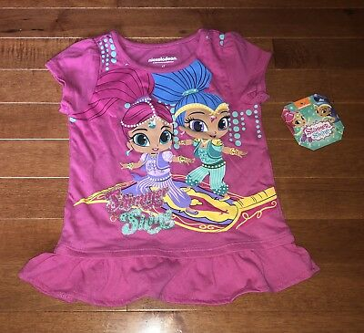 Shimmer and Shine Toddler Girl Pink Shirt Ruffle Top New 4T