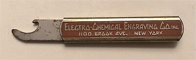 1930s Electro-Chemical Engraving Co 1100 Brook Ave NYC Slider Bottle Opener M-3
