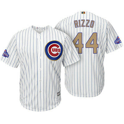 BNWT Anthony Rizzo Chicago Cubs MLB Baseball 2017 Gold Cool Base Player Jersey