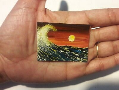 2 x 1.5 Dollhouse Painting Seascape Waves Ocean Sunset Miniature  Art HYMES
