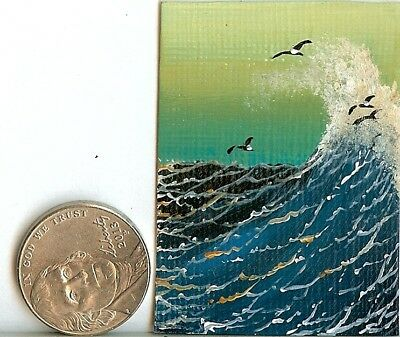2 x 1.5 Dollhouse Painting Seascape Waves Ocean Birds Miniature Mini Art HYMES