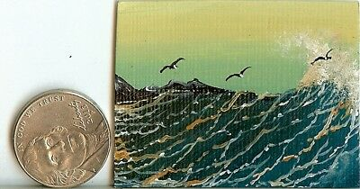 2 x 1.5 Dollhouse Painting Seascape Waves Seagulls Rocks Shore Seaside Art HYMES