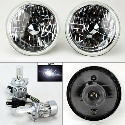 "7"" Round Clear Glass Headlight Conversion w/ 6000K 36W LED H4 Bulbs Pair Ford"