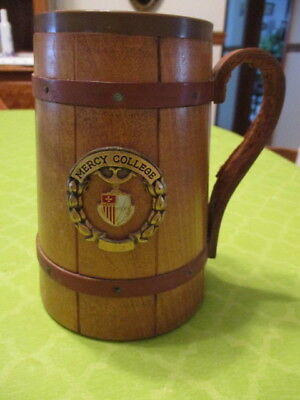 Wooden Stein With Leather Handle  And Mercy College, N.y. Logo