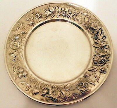 Repousse sterling bread & butter plates, #127, S.Kirk & Son.