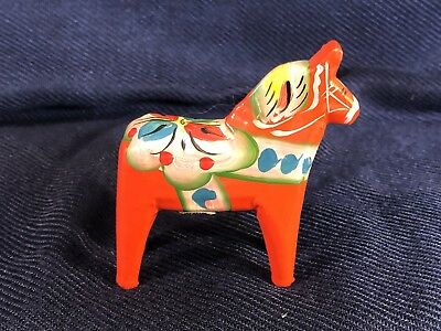 Vintage SWEDISH Dala Horse NILS OLSSON Mini Hand Painted Sweden w/Label