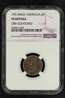 1921(M&S) Australia Sterling Silver Sixpence NGC VF Details Obv Scratched-150339
