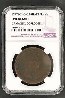 1797SOHO Great Britain Penny NGC Fine Details Damage, Corroded -150290