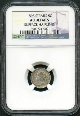 1898 Straits Settlements Silver 5 Cents NGC AU Details Surface Hairlines -134055