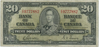 1937 Bank of Canada $20 Banknote Gordon & Towers Signatures