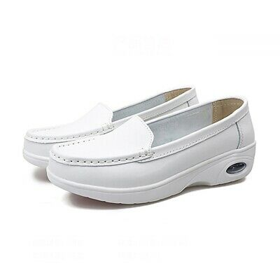 Women Nurse Shoes Nursing Slip Ons Comfort Loafers Air Cushion Work Shoes White