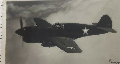 WWII Curtiss P-40F Warhawk RPPC Postcard by Gray US Military Aviation Aircraft