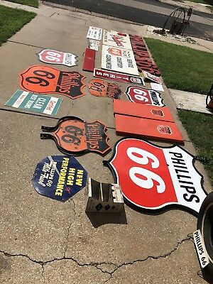 phillips 66 Collection!! Lots Of Original Advertising, Cans, Signs, Small, Bigs