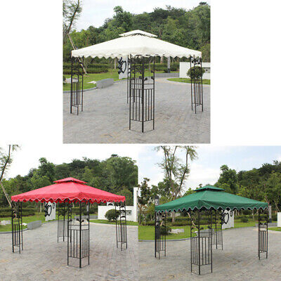 Outdoor Gadern 10X10ft Double Tier Gazebo Top Replacement Canopy Pavilion Cover
