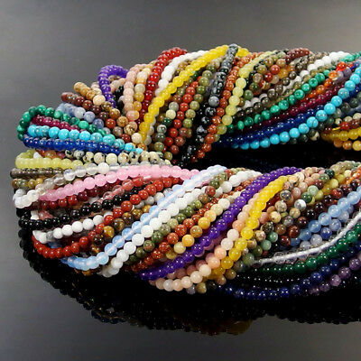 Natural Gemstone 2mm 3mm Round Spacer Seed Beads Jewelry Making Design DIY 15.5""