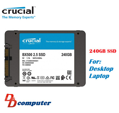 "Crucial BX500 240GB 2.5"" SATA SSD 3D NAND 540MB/s 7mm Internal Solid State Drive"