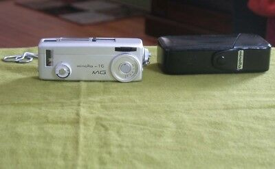 1960s Minolta 16 MG Subminiature Camera w/ Case - Camera HAS FILM INSIDE!