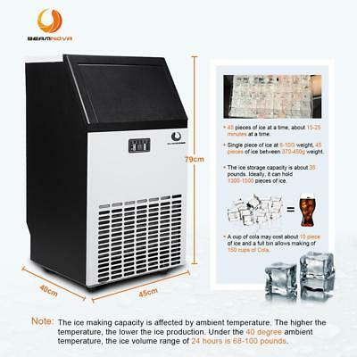 Stainless Steel Commercial Ice Cube Maker Freestanding Ice Refrigerator Machine