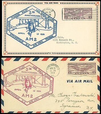 4/15/31 LOT/2 BLUE & MAGENTA Charles Lindbergh & Mail Plane 5th Anniv Cachet AM2