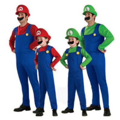 Mario and Luigi Costumes Kids Super Mario Bros/Brothers Halloween Fancy Dress