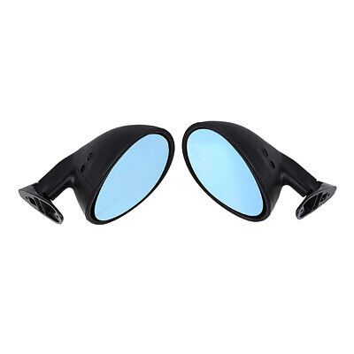2x Vintage Black Classic Style Car SUV Door Wing Blue Side View Mirror Universal