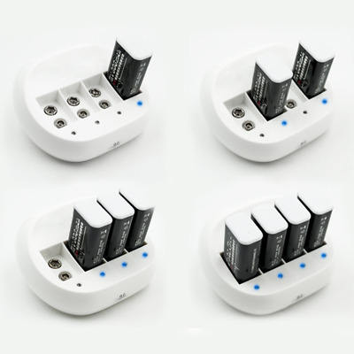 White Rechargeable 9Volt Battery Smart Charger for 4Pcs 900mAh 9V Li-ion Lithium