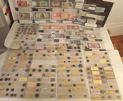 Huge Collection 150 Coins & 25 Bank Notes - Silver Currency Estate Sale Old Rare