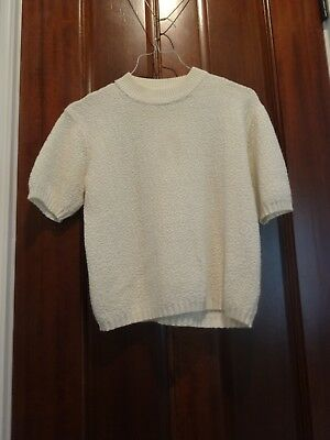 vintage ivory mock neck boucle textured knit short sleeve sweater - size S