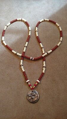 Copper Wolf Livery Button 1700's Beaded Necklace, Eastern Woodlands, Longhunter