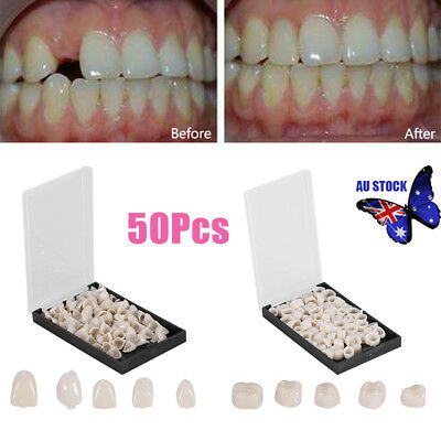50x/Box Oral Dental Temporary Crown Teeth Crown Resin Tooth Utility AU Stock