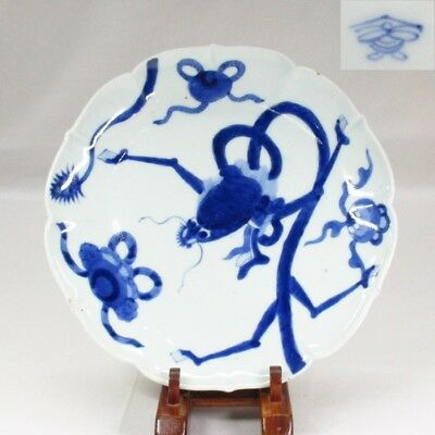 G139 Japanese plate of really old KO-IMARI blue-and-white porcelain with dragon