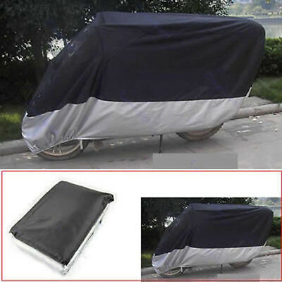 EE2E Hot Motorcycle Cover Waterproof Water Protection Bikes XL Black+Silver
