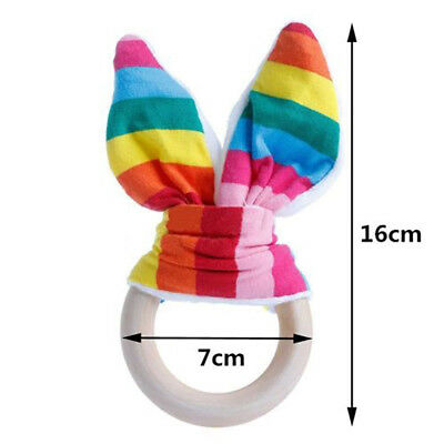 FT- Cute Wooden Natural Chewie Teether Bunny Sensory Toy Baby Teething Ring Stri