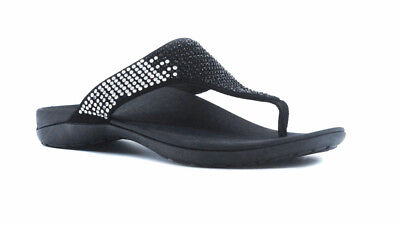 00a0ab1662 AXIGN Alexa Orthotic Flip Flops Black - Arch Support Comfort Relief Thongs