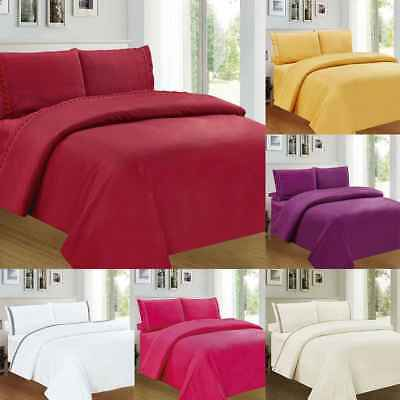 Fitted Bed Sheets Cotton & Poly Solid Single Double King Size Pillowcases 3/4pcs