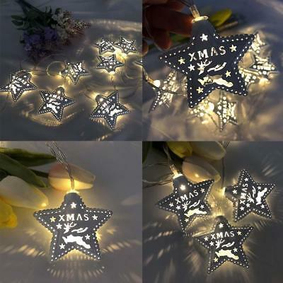 LED Christmas String Lights Metal Star Fairy Warm White Lights Party Home Decor