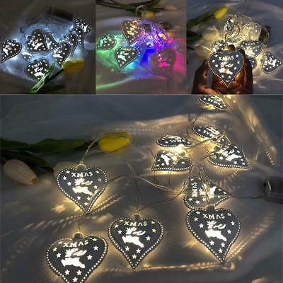 9 styles Christmas LED String Light Metal Heart Curtain Lamp Party Wedding Decor