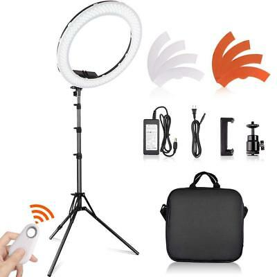 "18"" LED Ring Light Dimmable 5500K Continuous Lighting makeup Photo Video Kit Set"