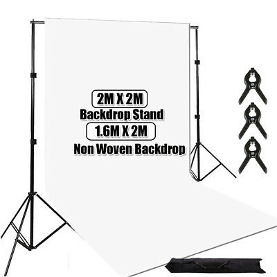 Photography Studio Background Support Stand + White Screen Backdrop Kit Case