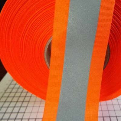 Reflective reflective tape for sewing combined fluo / silver 5cm orange