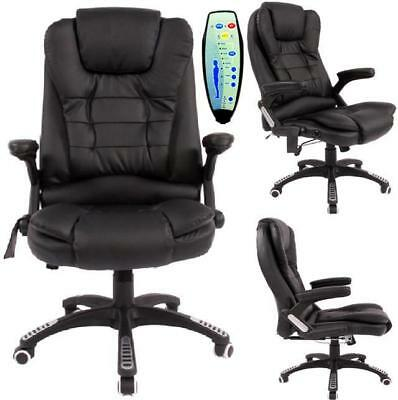 Black PU Heat Leather Executive Office Massage Computer Reclining Chair Swivel