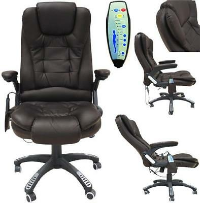 Brown PU Leather Executive Office Massage heat Computer Reclining Chair Swivel