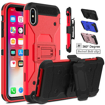 For iPhone XR/XS Max Military Armor Case Kickstand With Holster Belt Clip Cover