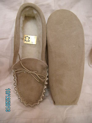 Mens soft sole suede sheepskin moccasin slipper 6 7 8 9 10 11 warm and cosy