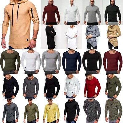 Men Slim Muscle Fit Gym Long Sleeve Casual Hooded T Shirt Curved Hem Top Lot